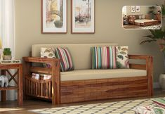 Buy Sereta Sofa Cum Berth (Queen Size, Irish Cream, Teak Finish) Online in India, Get Wooden Sereta Sofa Cum Berth (Queen Size, Irish Cream, Teak Finish) Wooden Street