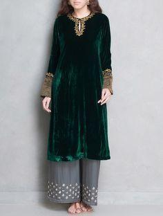 Buy Green Golden Sequin & Dabka Embellished Velvet Silk Kurta Apparel Tunics Kurtas Börte Colorful Hand Embroidered Dupattas More Online at Jaypore.com