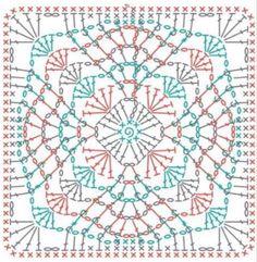 Crochet Squares, Crochet Doily Diagram, Crochet Motif Patterns, Crochet Symbols, Chunky Knitting Patterns, Crochet Chart, Crochet Designs, Motifs Granny Square, Crochet Granny Square Afghan