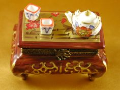 CHINESE TABLE W/TEAPOT & CUPS -Rochard Limoges Box