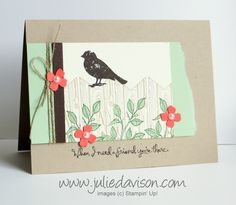 Stampin' Up! Choose Happiness Bird on a Fence card #stampinup www.juliedavison.com
