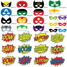 Superhéroe Comic Photo Booth Props máscaras 32 apoyos por digital2u