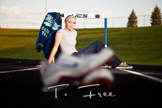 senior pictures with hurdles | Creative senior picture with track shoes and hurdle and letter jacket ...