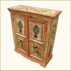 Hand Painted Garden Song Birds Armoire Cabinet storage chest painting