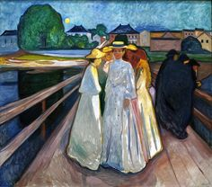Edvard Munch [Norwegian Symbolist/Expressionist Painter, The Ladies on the Bridge Same bridge as The Scream, no? Edvard Munch, Illustration Arte, Oil Painting Pictures, Giacometti, Manet, Oeuvre D'art, Oil On Canvas, Modern Art, Drawings