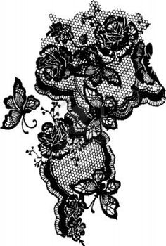 butterfly and rose lace pattern Stock Photo