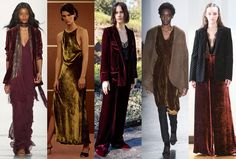 Velvet: Lush fabrics and textures were a big story in New York, none more so than velvet — with everything from brushed, devore, and crushed velvet. Photos (L-R): Erin Fetherston, Khaite, Jenni Kayne, Zero + Maria Cornejo, and Jill Stuart. Photos: Imaxtree.