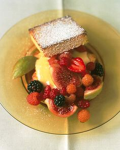 Summer Fig and Berry Trifle: Layers of golden genoise cake with tangy lemon curd and summer's finest gems :)    Martha Stewart