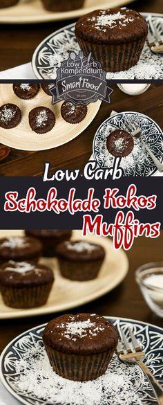 Schokolade-Kokos-Muffins - Low-Carb backen mit wenig Kohlenhydrate. Herrlich saftig & lecker. Muffins in allen Formen und Farben sind einfach klasse – und Schokolade ist der reinste Glücksstoff. Was liegt also näher, als Muffins und Schokolade zusammen zu bringen? Zum Glück muss man auch in einer kohlenhydratarmen Ernährung nicht auf Schokolade verzichten, es gilt nur die richtige Schokolade zu verwenden.  Die Muffins noch mit Kokosnuss verfeinern und wir haben den perfekten Low Carb Muffin.