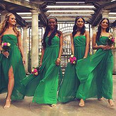 Jamais jolie longues en mousseline de soie robe vert émeraude de demoiselle d'honneur robe ados pour un plancher domestique de jeunes mariées Robes de demoiselles d'honneur Robes avec fente(China (Mainland))