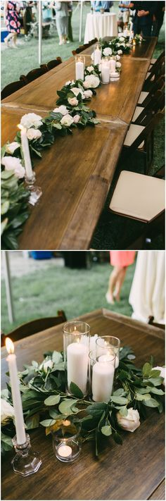 Outdoor wedding reception table decor, long wooden tables, garlands of pastel flroals and leaves, romantic white candles // Kelly Ginn Photography
