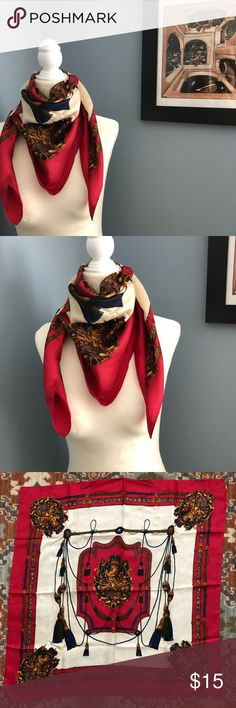 Silk Scarf One Size/ Horse and emblems design silk Scarf Accessories Scarves & Wraps
