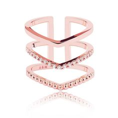 Astrid & Miyu - Mystic Ring in Rose Gold (140 BGN) ❤ liked on Polyvore featuring jewelry, rings, triple ring, drusy ring, druzy ring, costume jewelry and trio rings