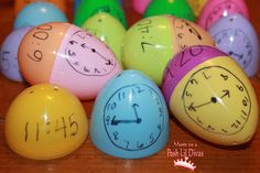 What Time is It? A fun telling time review game using leftover plastic eggs.
