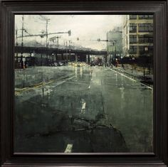 """❦ """"16th St. After the Rain"""" - Oil on Panel - 36 x 36 in. - Sold - Principle Gallery"""