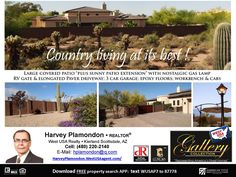 "NORTH SCOTTSDALE COUNTRY LIVING ONE ACRE - NO HOA FEES! Elegant architecture!  3 exits to huge patio; 3-Car Garage w/220v electrical, epoxy floors, insulated overhead doors, workbench, cabinets, RV Gate. Fruit & nut tree varieties, grape vines, irrigated garden area. owner/agent ….TEXT, PHONE, EMAIL: HARVEY PLAMONDON, WEST USA REALTY:  hplamondon@q.com   (480) 220-2140 ….""Know the market"" - - FREE APP (desktop, tablet, iPad, iPhone):  http://app.westusa.com/WUSAP7  (or text:  WUSAP7 - type…"