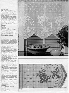 Filet Crochet, Crochet Stitches, Knit Crochet, Crochet Patterns, Crochet Curtains, Crochet Doilies, Color Patterns, Crochet Projects, Needlework