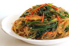 Japchae (Korean stir fried noodles with vegetables). Gluten free, egg free, dairy free.