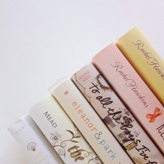 graceslibrary: A few of my favorite book spines. - via authorbethreekles on Tumblr