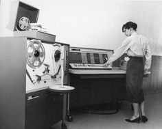 """IBM 1620 computer and 1621 paper tape reader, Norwich University, Vermont, ca. 1962. The IBM 1620 was jokingly nicknamed CADET (""""Can't Add, Doesn't Even Try"""") by its users, in reference to its use of addition tables in memory instead of dedicated addition circuitry."""