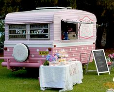 Sweet Jane's traveling teahouse cupcake trailer birthday party via Kara's Party Ideas