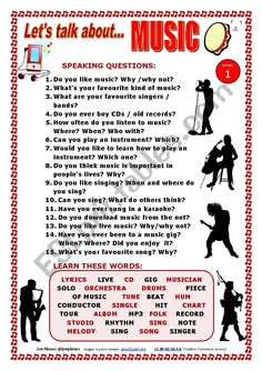 I prepared this worksheet to make students talk about the topic of MUSIC. They c… - Bildung English Teaching Materials, English Speaking Skills, Learn English Words, English Language Learning, English Lessons, English Vocabulary, Teaching English, English Conversation Learning, Conversation Cards