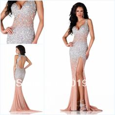 2014 New Fashion Elegant Sexy Slit Beaded Crystals Luxury Open Back Long Evening Dresses Prom Dresses Free Shipping