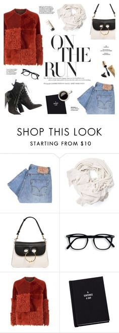 """""""On the run"""" by honestlyjovana ❤ liked on Polyvore featuring Levi's, J.W. Anderson, Whistles, Jane Iredale, Haute Hippie and scarf"""