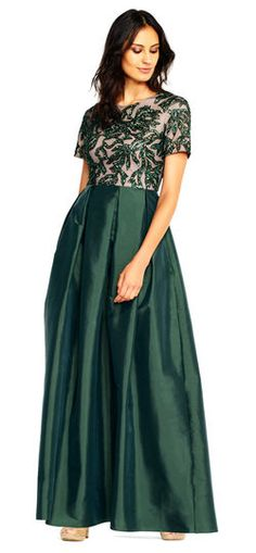 Short Sleeve Taffeta Ball Gown With Vine Beaded Bodice Dress For The Wedding Green Mother Of Bride Dresses