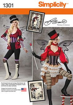 Simplicity Pattern 1301-Misses' Victorian Circus Costumes