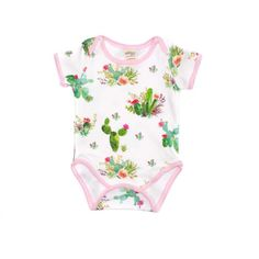 Adorable organic cotton floral cactus one piece bodysuit. Perfect little bodysuit to match our leggings or to wear it alone. The bodysuit has snaps for easy wear and diaper changes.  Seams are professionally serged to add durability. Fabric is prewash to prevent shrinking.   ** Baby/kids items: https://www.etsy.com/shop/KarolinaDesigns?section_id=14708071&ref=shopsection_leftnav_2&ga_search_query=leggings  ~~ Other items in this print: https:&#x...