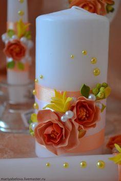 Купить Набор свадебных аксессуаров - оранжевый, свадьба, свадебные бокалы, свадебные аксессуары, свадебные свечи