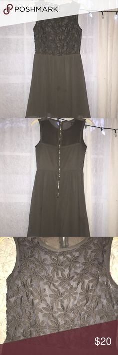 grey dress grey dress with flower designs on top portion, flowy bottom, half sheer back Dresses Midi