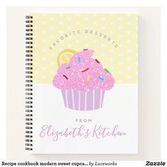 Recipe cookbook modern sweet cupcake hearts yellow notebook