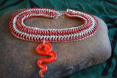 Serpentine Red and Silver Chainmaille Choker with Glass Snake Pendant by GeekyGaeaDesigns
