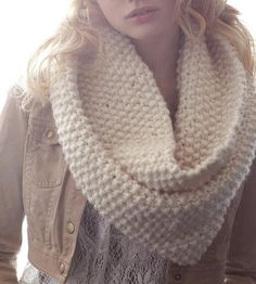 White Wool Infinity Scarf