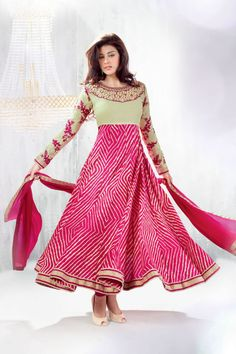 Pink Color long anarkali salwar kameez