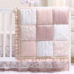 Girl Crib Bedding Sets, Girl Cribs, Crib Sets, Cot Bedding, Patchwork Designs, Dusty Pink, Dusty Rose, Nursery Decor, Nursery Curtains