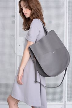 Grey leather oversized tote bag #handmade by morelebags in Poland #whomademyclothes