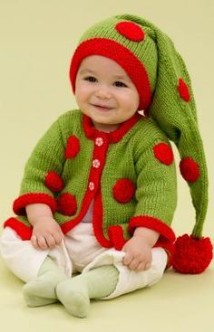 Santa's Baby Elf Free Knitting Pattern from Red Heart Yarns
