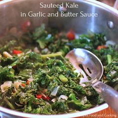 Sauteed Kale in Garlic Butter Sauce. Sauteed Kale in Garlic and Butter Sauce with red peppers onions and garlic cooked in chicken stock with a teaspoon of butter. Cooked Kale Recipes, Onion Recipes, Vegetable Recipes, Cooking Recipes, Cooking Kale, Vegetable Sides, Keto Recipes, Healthy Recipes, Butter Pasta