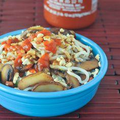Fresh Veggie Noodle Bowl with Ginger Sesame Peanut Sauce #MushroomMakeover AD