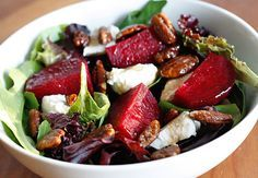 Baby Greens with Goat Cheese, Beets and Candied Pecans | Skinnytaste 9 smart points- can cut back, add sweet potatoes