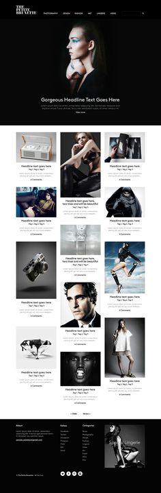 The Petite Brunette website design Web Design Gallery, Web Ui Design, Best Web Design, Blog Design, Website Design Inspiration, Web Layout, Layout Design, Website Header Design, Ui Web
