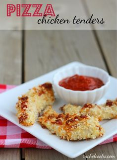 Pizza Chicken Tenders | RachelCooks.com --~> These aren't your boring, every day chicken tenders. These are baked with all your favorite pizza flavors. Kids will love them!