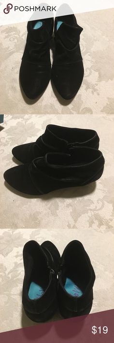 Cute zip up wedge booties Low wedge black suede side zip up booties. Adorable for work and still comfortable. Wedge is 1.5 inches. Only worn a few times. Blowfish Shoes Ankle Boots & Booties