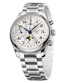 Longines Watch, Men's Silvertone Stainless Steel Bracelet L26734786 - Men's Watches - Jewelry & Watches - Macy's
