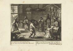 Matthijs Pool | Apen als apotheker, ca. 1720, Matthijs Pool, 1720 | Apen als apothekers en klanten in een apotheek. In het onderschrift versjes in het Frans en Nederlands. Prent nr. 7 in een serie van 16 prenten van ca. 1720 waarin apen als mensen figureren in allerlei huishoudelijke taferelen.