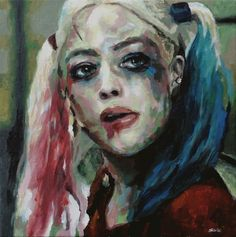 Harley Quinn portrait by Pete Schille. I wish I could paint with that much personality!