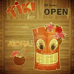 Vintage Design hawaii menu - invitation à Tiki Bar - illustration vectorielle Banque d'images - 14442114